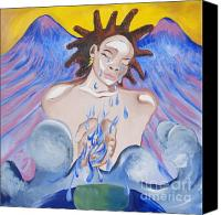 Angel Blues  Painting Canvas Prints - Liquid Prayers Canvas Print by Heather Hilliard