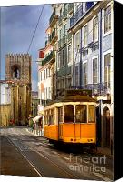 Old Houses Canvas Prints - Lisbon Tram Canvas Print by Carlos Caetano