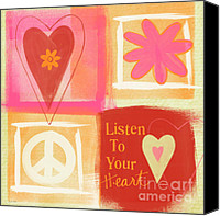 Orange Mixed Media Canvas Prints - Listen To Your Heart Canvas Print by Linda Woods