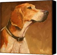 Foxhound Canvas Prints - Listening to the Master Canvas Print by Elaine Hurst