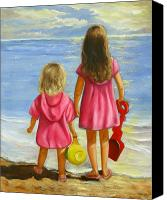 Beaches Canvas Prints - Little Beachcombers Canvas Print by Joni McPherson