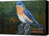 Little Birds Canvas Prints - Little Blue Bird Canvas Print by Reb Frost
