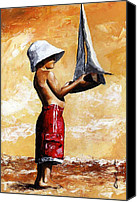Little Boy Canvas Prints - Little boy in the beach Canvas Print by Emerico Toth