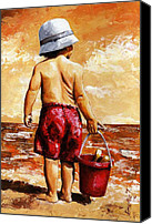 Human Painting Canvas Prints - Little Boy on the Beach II Canvas Print by Emerico Toth