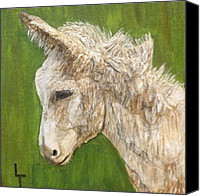 Donkey Mixed Media Canvas Prints - Little Burro II Canvas Print by Lorrie T Dunks
