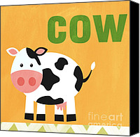 Orange Mixed Media Canvas Prints - Little Cow Canvas Print by Linda Woods