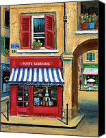 Corner Cafe Canvas Prints - Little French Book Store Canvas Print by Marilyn Dunlap