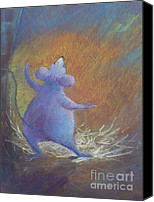 Mouse Pastels Canvas Prints - Little Friend Canvas Print by Pamela Pretty