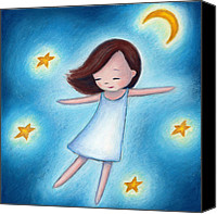 Starry Canvas Prints - Little Girl Flying With Stars Canvas Print by Anna Abramska
