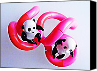 Still Life Sculpture Photo Canvas Prints - Little Glass Pandas 44 Canvas Print by Sarah Loft