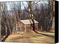 Log Cabins Canvas Prints - Little House In The Woods Canvas Print by Robert Margetts