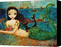 Catfish Canvas Prints - Little Mermaid Canvas Print by Shijun Munns