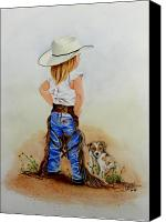 Cowgirl Drawings Canvas Prints - Little Miss Big Britches Canvas Print by Jimmy Smith