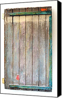 Object Sculpture Canvas Prints - Little Painted Gate in Summer Colors  Canvas Print by Asha Carolyn Young