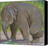Elephant Pastels Canvas Prints - Little Pathi Harn Canvas Print by Louise Green