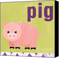 Pink Canvas Prints - Little Pig Canvas Print by Linda Woods