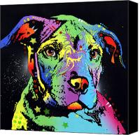 Dean Russo Mixed Media Canvas Prints - Little Pittie Warrior Canvas Print by Dean Russo