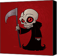 Halloween Digital Art Canvas Prints - Little Reaper Canvas Print by John Schwegel