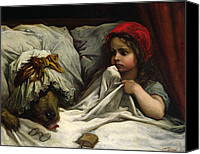 Scared Painting Canvas Prints - Little Red Riding Hood Canvas Print by Gustave Dore