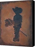 Little Boy Canvas Prints - Little Rider Canvas Print by Leslie Allen