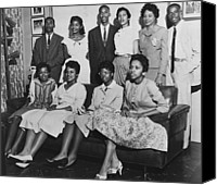 Arkansas Canvas Prints - Little Rock Nine And Daisy Bates Posed Canvas Print by Everett