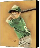 Baseball Pastels Canvas Prints - Little Slugger Canvas Print by Robin Martin Parrish
