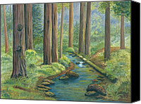 Giclee Trees Canvas Prints - Little Stream in the Woods Canvas Print by Vidyut Singhal