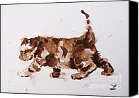 Brown Tiger Painting Canvas Prints - Little Tiger Canvas Print by Zaira Dzhaubaeva