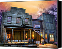 Old West Canvas Prints - Little Town Canvas Print by Joel Payne