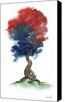 Independence Day Painting Canvas Prints - Little Zen Tree 290 Canvas Print by Sean Seal