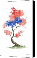 Independence Day Painting Canvas Prints - Little Zen Tree 291 Canvas Print by Sean Seal