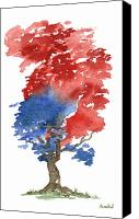 Independence Day Painting Canvas Prints - Little Zen Tree 292 Canvas Print by Sean Seal