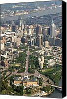 Aerial Canvas Prints - Live 8 Concert Philadelphia Ben Franklin Parkway 2 Canvas Print by Duncan Pearson