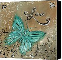 Teal Flowers Canvas Prints - Live and Love Butterfly by MADART Canvas Print by Megan Duncanson