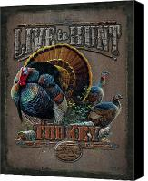 Pine Canvas Prints - Live to Hunt Turkey Canvas Print by JQ Licensing