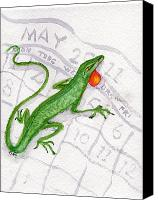 May Day Painting Canvas Prints - Lizard May Day Canvas Print by Doris Blessington