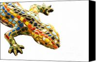 Cities Pyrography Canvas Prints - Lizard Souvenir by Antony Gaudi Canvas Print by Soultana Koleska