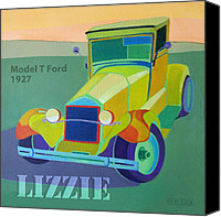 Antique Automobiles Digital Art Canvas Prints - Lizzie Model T Canvas Print by Evie Cook