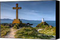 Wales Digital Art Canvas Prints - Llanddwyn Cross Canvas Print by Adrian Evans
