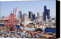 Architectural Detail Canvas Prints - Loaded Container Ship In Seattle Harbor Canvas Print by Jeremy Woodhouse