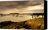 Twilight Canvas Prints - Lobster Boats Cape Porpoise Maine Canvas Print by Bob Orsillo