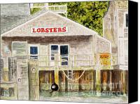 Flagg Canvas Prints - Lobster Shack Canvas Print by Carol Flagg