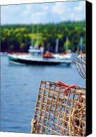 Fisher Canvas Prints - Lobster Trap in Maine Canvas Print by Olivier Le Queinec