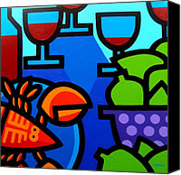 Limes Canvas Prints - Lobster Wine and Limes Canvas Print by John  Nolan
