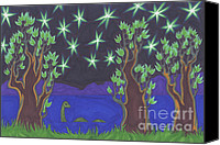 Mystical Drawings Canvas Prints - Loch Ness Night Canvas Print by James Davidson
