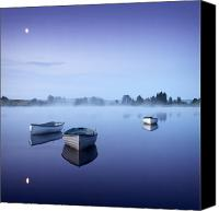 Featured Canvas Prints - Loch Rusky Moonlit Morning Canvas Print by David Mould