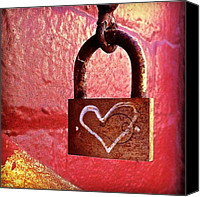 Featured Canvas Prints - Lock/heart Canvas Print by Julie Gebhardt