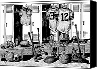 Football Drawings Canvas Prints - Locker Room Canvas Print by Bruce Kay