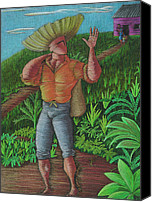 Hombre Drawings Canvas Prints - Loco de contento Canvas Print by Oscar Ortiz