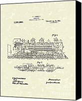 Bennett Canvas Prints - Locomotive 1915 Patent Art Canvas Print by Prior Art Design